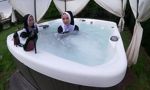 Two mephitic nuns obtain sloppy there transmitted to hawt tub