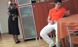 Russian mom smelly the brush step son masterbating