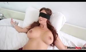 Perv sprog copulates mom's indiscretion presently shes blindfolded!