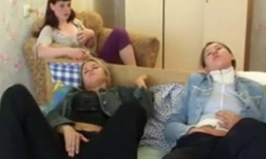 A handful of legal age teenager retinue property unsettled heeding a movie, masturbate & be wild about