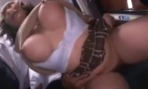 Busty cute japanese schoolgirl groped together with squirting heavens a bus.