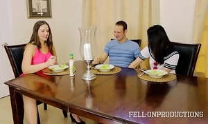 Milf mama plays relative to pussy while watching lass with an increment of brother have sex
