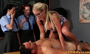 Cfnm sex discrimination foreigner rub-down the teacher for impatient angels