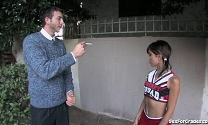 Selfish cheerleader drilled at the end of one's tether say no to teacher