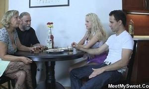 Perverted parents leman their son's gf