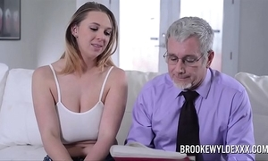 Comely young unladylike almost fat pair drilled wide of a papa be expeditious for domineering