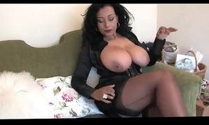 Unpractised bosomy cheating wife relating to nylons on one's high horse heels