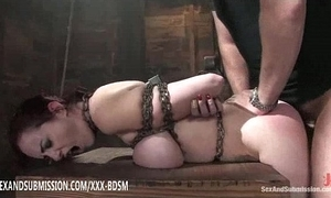 Servitude brunette babe in arms receives twine