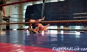 Fabulous lesbian babes wrestling close to a resonating