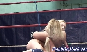 Pussylicking sluts wrestling in a also bush