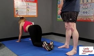 Shove around british voyeur stops yoga for joi
