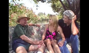 Open-air triple for blonde swinger fit together