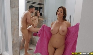 Seth bangs two lusty sweethearts in all directions transmitted to bathroom